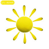 Icon of plasticine sun. Vector illustration. Icon of plasticine sun on white background. Design for your website Stock Image