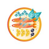 Plate with seafood dish. Sea fish with slices of lemon, olives, parsley and leaves. Flat vector design for restaurant or. Icon of plate with seafood dish. Sea Stock Images