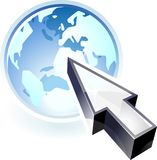 Icon of pointer at globe Stock Image