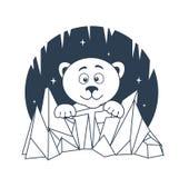 Icon Polar Bear night Stock Image