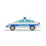 Icon of the police car. With a shadow on the isolated white background. The vehicle in flat style. Design element. Vector illustration Royalty Free Stock Photos