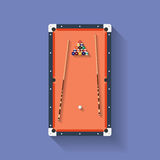 Icon of poll or billiard table with cues and balls. Flat style . Vector illustration Stock Photo