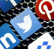 Icon of popular social media website Twitter on smart phone screen Stock Images