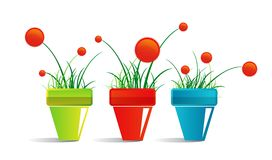 Icon of pots with flowers Royalty Free Stock Images