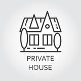 Icon private house drawn in outline style. Simple linear label. Simple black linear icon private house in outline style. Concept of advertising purchase and Royalty Free Stock Image