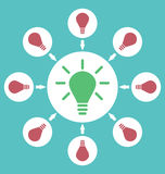 Icon process of generating ideas to solve problems, birth of the Royalty Free Stock Photography