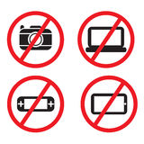 Icon prohibited electronic devices. On planes. vector design stock illustration