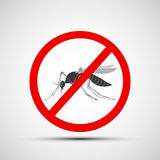 Icon prohibitory sign with a mosquito. Stock  illustration Stock Photography