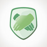 Icon - protection. The shield folded hands. Protect icon Royalty Free Stock Photography