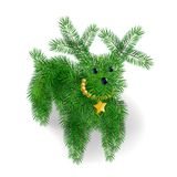 Icon puppy of Christmas tree branches. Icon of the symbol of the new year 2018, year of the dog in the form of a toy, hand-made hand-crafted  small puppy of Stock Images