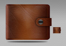 Icon purse. Icon leather purse on a gray background Royalty Free Stock Photos