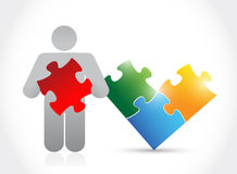 Icon and puzzle. illustration design Royalty Free Stock Image
