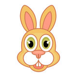 Icon of a rabbit in cartoon style solated on a white background. Icon of a rabbit in cartoon style, with a contour, isolated on a white background Royalty Free Stock Photos