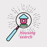 Icon real estate agents. Vector logo, icon real estate agents. House under magnifying glass Royalty Free Stock Photos