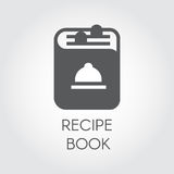 Icon of recipe book drawing in flat style. Cookbook logo for different culinary projects. Vector illustration. Icon of recipe book drawing in flat style Royalty Free Stock Photo