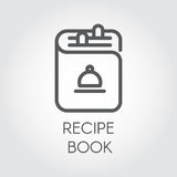 Icon of recipe book drawing in outline design. Cookbook black logo for different culinary projects. Vector illustration Royalty Free Stock Photos