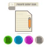 Icon Record color on white background. Icon set Record color on white background Stock Image
