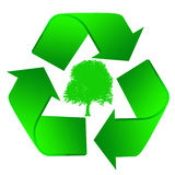 Icon recycle with a tree inside Stock Photo