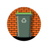 Icon of recycling wheelie bin against the brick wall, vector  Stock Photos