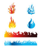 Icon Red and Blue Fire Flame Vector Royalty Free Stock Photo