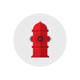 Icon red fire hydrant. Single silhouette fire equipment icon. Vector illustration. Flat style. Royalty Free Stock Photo