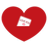 Icon red heart with I love you note on a white background. templ Stock Photo