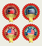 Icon with red ribbons and US flag Royalty Free Stock Photography