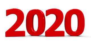 2020 icon. Red 2020 symbol, icon or button isolated on white background, represents the new year 2020, three-dimensional rendering, 3D illustration vector illustration