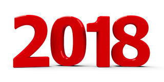 2018 icon. Red 2018 symbol, icon or button  on white background, represents the new year 2018, three-dimensional rendering, 3D illustration Royalty Free Stock Photos