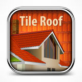 Icon with red tile roof Stock Images