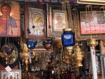 Icon and Religious Accoutrements Shop, Central Athens, Greece. Icon and religious accoutrements shop, central Athens, Greek Orthodox Royalty Free Stock Images