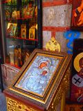 Icon and Religious Accoutrements Shop, Central Athens, Greece Stock Photos