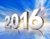 2016 icon. Rendering of a 2016 icon in front of a sky Stock Photography