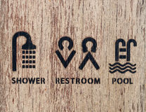 Icon in the resort and relax on wood background texture. Royalty Free Stock Photography