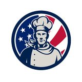 American Baker Chef USA Flag Icon Royalty Free Stock Photography