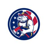 Bulldog Fireman American Flag Icon. Icon retro style illustration of an American or Bulldog fireman or firefighter holding fire axe with United States of America Royalty Free Stock Image