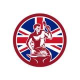 British Blacksmith Union Jack Flag Icon. Icon retro style illustration of a British blacksmith or farrier holding hammer and anvil with United Kingdom UK, Great Royalty Free Stock Photography