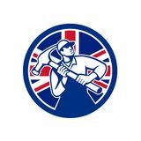 British Joiner Union Jack Flag Icon. Icon retro style illustration of British handyman, carpenter, builder, joiner, construction worker holding hammer  with Stock Image