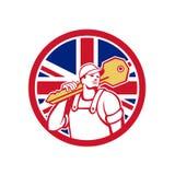 British Locksmith Union Jack Flag Icon. Icon retro style illustration of a British locksmith or key cutter carrying a giant key with United Kingdom UK, Great Royalty Free Stock Image