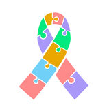Icon ribbon  on Autism awareness day. Royalty Free Stock Image