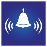 The icon of the ringing bell,on a blue background. For the design of alarms stock illustration