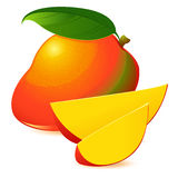 Icon of Ripe exotic mango with two slices Stock Image