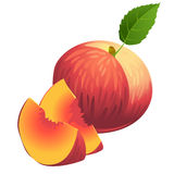 Icon of Ripe summer peach with two slices and green leaf Stock Photography