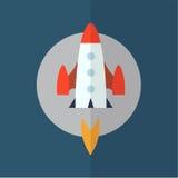 Icon rocket background. Flat design. Vector Illustration Royalty Free Stock Image
