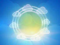Icon rotating in circle on colorful background. Stock Images