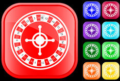 Icon of roulette. On shiny square buttons Stock Illustration