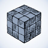 Icon of rubik's cube. Vector sketch Stock Photo