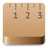 Icon for ruler. Icon for wooden ruler. White background. Vector saved as eps-10, file contains objects with transparency Royalty Free Stock Images