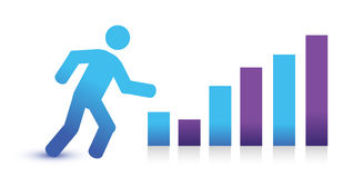 Icon running and graph. Illustration improving concept Royalty Free Stock Photography