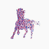 Icon of running horse. Running horse vector illustration. Running horse from triangles Stock Photo